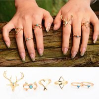 antique jewelry pieces - Rings Jewelry Fashion Women Vintage Bohemia Gold Antique Silver Plated Ethnic Deer Head Triangle Arrow Alloy Knuckle Rings Piece Set SR473
