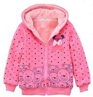 Wholesale Female child wadded jacket autumn and winter outerwear fleece thickening plus velvet child sweatshirt cardigan casual version