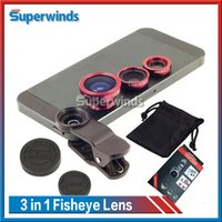 Cheap 3 in 1 Universal Clip Fish Eye Wide Angle Macro Phone Fisheye glass camera Lens For iPhone HTC LG Samsung Free Shipping DHL