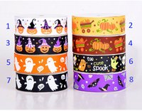 Wholesale Ribbon mm wide Halloween pumpkin cute DHL cartoon printed grosgrain ribbon yards roll for headband hair tie gift packaging ribbon B
