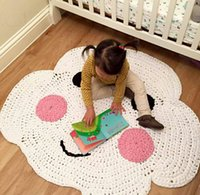 Wholesale 2016 Custom made Crochet D Cartoon Baby Happy Cloud Blanket Kids Cotton Play mat Kids Room Decoration baby Infant Newborn Photography Prop