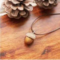 acorn fruit - New Christmas gift Hand made Nature Little Acorns Necklace Retro style Pinecone Fruit pendant withe leather rope string jewelry