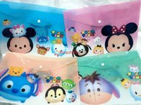 Wholesale 24 Fashion TSUM mickey minnie Cartoon A4 Plastic Translucent Learning Paper Bags Study stationery Cartoon Toy Gifts Favors