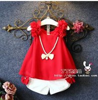 Wholesale 2016 New Kids Summer Clothing Sets Sets Girl Floral Vest Tops Short Pant Children l Sleeveless Clothes Baby Girl Princess Outfits A