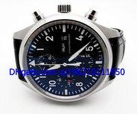Vente en gros - Grand New Pilots 3717 42mm Hommes Automatique Montre Mens Sport Montres-bracelets Noir Dial Bracelet en cuir