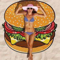 Wholesale High Quality Designs Round Donut Pizza Hamburger Towel Beach Cover Ups Sexy Beach Towel Chiffon Swimsuit Cover Up Bohemian Towel Yoga Mat