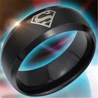 Wholesale Superman Width Black Titanium Steel Ring Han Edition Domineering Single Ring Fashion Men Women Finger Ring