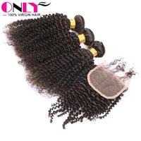 Wholesale Kinky Curly Human Virgin Hair Weave With Closure Hair Bundles With Free Part Curly Hair Closure Unprocessed Human Hair Weave Extension
