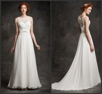 bead gallery beads - Chiffon A Line Wedding Dresses Ella Rosa KR Scoop Neckline Sleeveless Embroidered Alencon Lace Bridal Gowns Gallery GA2242 Sweep Train