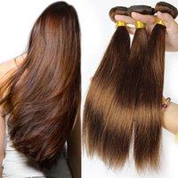 Brasileña Marrones Cabello humano teje, color 4 extensiones de cabello humano, sin procesar paquetes de pelo rectos en stock