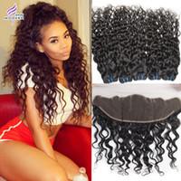 Wholesale 6a Peruvian Human Hair with Frontal Unprocessed Bundles Peruvian Water Human Hair Wave Bundles with Lace Frontal Peruvian Hair Bundles