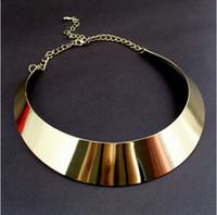 Wholesale Womens Punk Rock Gold Tone Curved Mirrored Metal Choker Collar Bib Necklace Jewelry