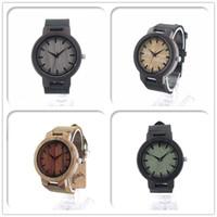 bamboo sandal - Bobobird Mens Black Sandal Wooden Bamboo Watches Luxury Wooden Bamboo Watches With Leather Quartz Watch