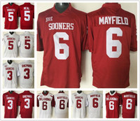 Wholesale Men s Oklahoma Sooners Jerseys Durron Neal Red White Sterling Shepard Jerseys Baker Mayfield Shirts College Jerseys