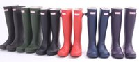 Wholesale NEW H brand women rubber Rainboots Tall Height Wellies Rain boots Water Shoes women Waterproof Rain Boots Ms glossy Wellington Knee Boots