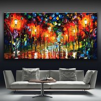 afremov prints - 2016 leonid afremov walking lovers trees multicolor printed on canvas Oil Painting Home Decor wall picture for living room