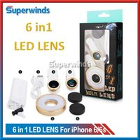 Wholesale New in LED Multi Lens Night Using Selfie Flash Sync Effect Micro Fisheye Wide Lens for Camera Phone Tablet Free DHL