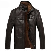 Wholesale Fall New Mens Leather Jacket Casual Winter Coat Men Overcoat Plus size M XL Fur Warm Winter Jackets For Men Leather Coat