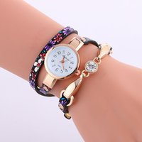 beautiful watch dial - flower women leather watches printing beautiful bracelet watch leisure small dial girls ladies quartz watches fashion wristwatch