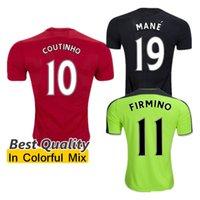 Wholesale Best Quality Liverpool adult GERRARD BENTEKE LALLANA LUCAS COUTINHO FIRMINO STURRIDGE Soccer Jerseys Red Green Football uniforms