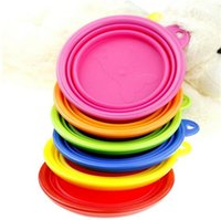 Wholesale 100pcs colors Portable Pet Dog Cat Silicone Collapsible Feeding Feed Water Feeders Foldable Travel Food Bowls Dish Frisbee D626
