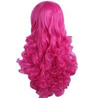 Womens Lolita Destacados Long Curly Clip en Ponytails Pelucas Cosplay Rose Red