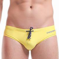 Wholesale Sexy Men s Swimwear Swim Briefs Fashion X Belt Design Man Low Rise Bikini Nylon Beachwear Swimming Swimsuit DESMIIT Brand