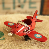 Wholesale Europe Ace of Aces Red Blue White Yellow Iron Fighter Model Retro Small Plane Desk Decoration for Boy Gift DEC098