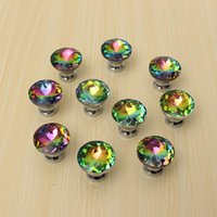 Wholesale Hot Selling Multicolors Crystal Glass Clear Cabinet Knob Drawer Pull Handle Kitchen Door Wardrobe Hardware