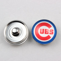 Wholesale Newest high quality mm glass Chicago Cubs snap buttons charm button snaps jewelry ginger snaps for women bracelet gift