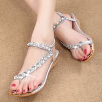beach wedding flip flops - 2016 new summer shoes han edition diamond wedge sandals female fashion summer beach sandals wedding party
