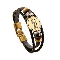 bar gemini - New arrival fashion men and women jewelry Gemini constellation retro leather bracelet birthday gift