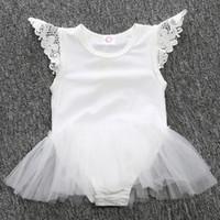 Wholesale Fashion Newborn Baby Girl Lace Romper Clothing Summer Infant Kid Sleeveless White Black TUTU Dress Bodysuit Costume One Piece Clothes