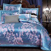 aqua satin sheets - Dance lightly cotton satin jacquard cotton quilt embroidered linens Continental gifted Kasi sheet
