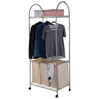 Wholesale Washing Tier Rolling Clothing Garment Rack Shelf Bag Laundry Hamper