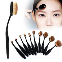Wholesale 2016 New Profession Oval Makeup Brushes Beauty Toothbrush Shaped Foundation Power Makeup Oval Cream Puff Brushes Sets Make Up Tools