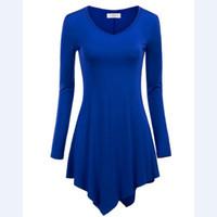 Wholesale 2016 Girl Women Irregular Hem A Line Long Sleeve V neck Knitting Tunic Tops sexy fashion T shirts Blous