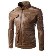 Wholesale Fall Men s leather jacket slim South Korean men s motorcycle leather jacket