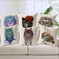 Wholesale Market Hot Selling Popular Drawing Hand painted Vivid Animal Heads Lion Wolf Bear Owl Rabbit Pillow Couch Chair Housse Coussin Cushion Cover