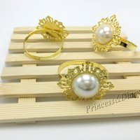 antique napkin ring - Golden Antique Fauxl Pearl Napkin Rings Serviette Holder For Wedding Party Banquet Adornment
