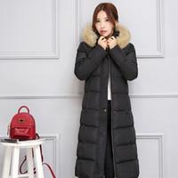 women winter warm long jacket - 2016 Winter New Womens Fashion Thick Warm Fur Collar Hooded Long Coats Female Black Long Sleeve Slim Down Parkas cotton Padded jacket XXL