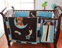 Wholesale 7Pcs Baby bedding set cotton Cot bedding set Embroidery night sky Bear Sit in Bend moon Crib bedding set Skirt Fitted