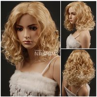 Wholesale european blond wigs for women curly hair wigs synthtic natural looking wig shops