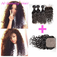 Wholesale Wet And Wavy Silk Base Closure With Bundles Brazilian Human Hair Extensions Natural Black DHL FREE