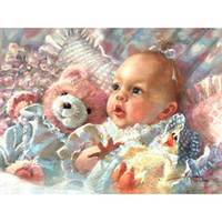 baby doll pictures - lovely baby bear doll diamond embroidery painting d kit mosaic picture full rhinestones cross stitch X40cm HWB