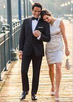 best western yellows - New Western Slim Fit Groom Tuxedos Light Black Two Buttons Best Man Suit Wedding Groomsman Men Suits Bridegroom Jacket Pants Tie Vest