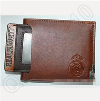 Wholesale 60pcs CCA3756 High Quality Multi design Madrid Brown PU Leather Credit Card Wallets Football Fans Fashion For Men And Women Brown Purse