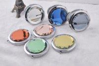 Pliante cristal métallique miroir glassPortable porter un petit miroir grossissant les cadeaux publicitaires d'affaires de verre de logo