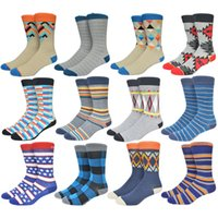 Wholesale Candy Color Happy Socks High Quality Cotton Suitable Causal Dress Socks Star Grid Colorful Strip Men Stocking Summer K