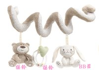 Wholesale Baby bed rattles toys cribs hanging toys Baby Infant bear and rabbit Pram Charm Music Toy Bed Stroller Hang Bell Rattle
